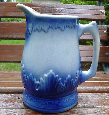 Antique Blue & White Stoneware Acanthus Pitcher