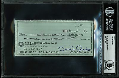 Greta Garbo Authentic Signed Personal Check Dated July 12, 1974 BAS Slabbed