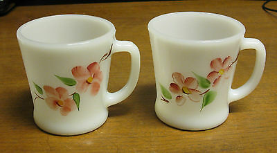 2 Anchor Hocking Fire King D Handle Floral Mugs