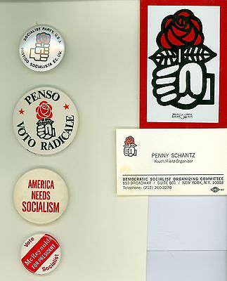 4 Vintage 1980s Democratic Socialist Party USA Pinback Buttons & 2 DSOC Cards