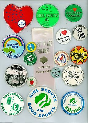 17 Vintage 1980s Girl Scouts Of America Booster Pinback Buttons &1 Ribbon