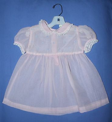 Vtg Doll Pink Dress Frock Blue Dot Sears Honeysuckle Playpal Toddler Sz 15-18 Mo