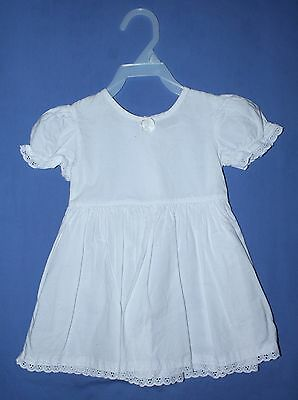 Vtg Lg Doll White Playpal Dress Lace Trim Bow Size 18 Months Cotton