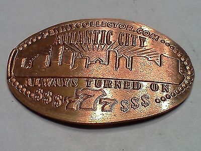 """ATLANTIC CITY ALWAYS TURNED ON $$$777$$-Elongated / Pressed Penny-""""copper"""" N-638"""