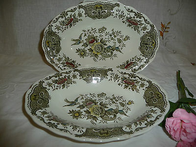 """Pair Of Vintage Ridgway Oval Dishes """"Windsor"""" Birds & Blooms Pattern Vgc"""