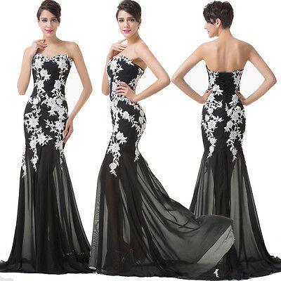 Lace Formal Long Dresses Cocktail Prom Ball Gown Evening Party Bridesmaid Dress