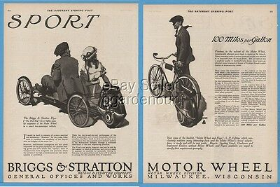 1920 Briggs & Stratton Motor Wheel Attachment for Bicycles Bike Engine Flyer Ad