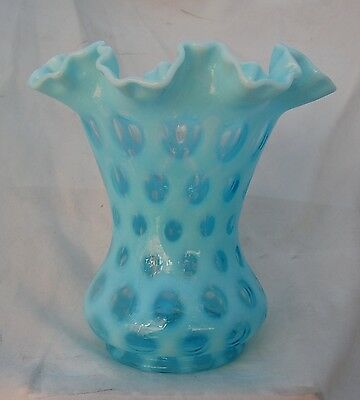 Vintage Fenton Blue Glass Coin Dot Vase 8inch Crimped Ruffle Opalescent