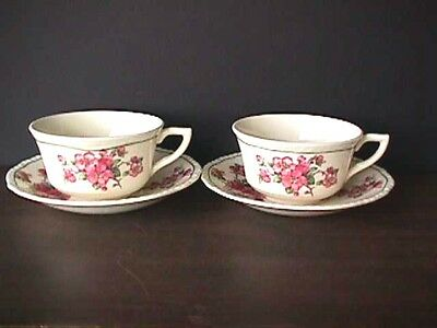 **steubenville Ivory (2) Apple Blossom Cups & Saucers 1930's Uw32-G