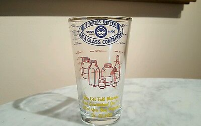Vintage Promo Measuring Glass Blowers Assoc Union Made It Tastes Better in Glass