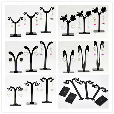 FREE 1 Set (3pcs) Black Acrylic Earring Jewelry Tree Shaped Display Stand Rack