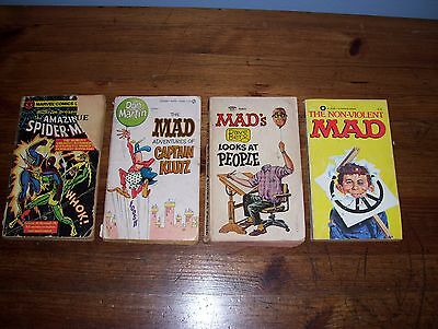 Lot of 3 Vintage 1960's Mad and 1 Spiderman Pocket Comic Books.. Look!