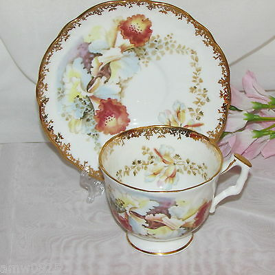 Aynsley Footed Cup & Saucer Blue Brown Orchids Gold Filigree Bone China Vintage