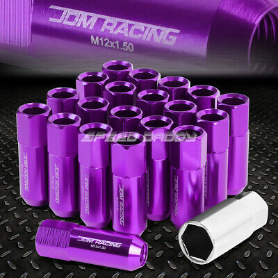 20X Racing Rim 60Mm Extended Anodized Wheel Lug Nut+Adapter Key Purple
