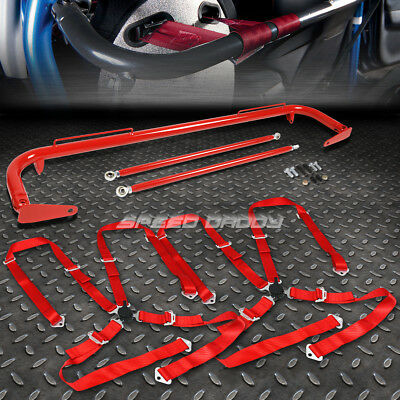 """Red 49""""stainless Steel Chassis Harness Bar+Red 4-Pt Strap Camlock Seat Belt"""