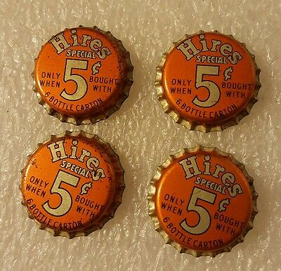 4 Vintage Cork Lined Hires Root Beer Special 5 Cents Unused Soda Pop Bottle Caps