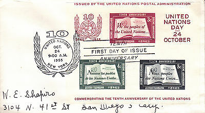 Cover: FDC, 10th Anniv., United Nations, Oct 24, 1955 (S4643)