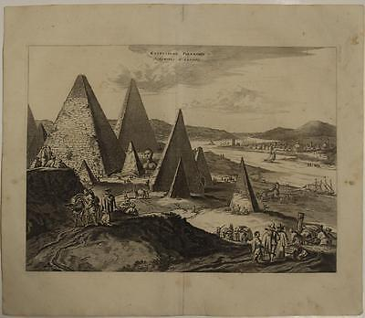 The Pyramids Giza Egypt 1686 Van Der Aa Unusual Antique Copper Engraved View