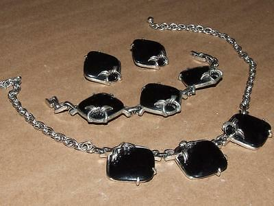 VTG 60s MOD Silvertone & Black Lucite Square Link Necklace Bracelet Earrings Set