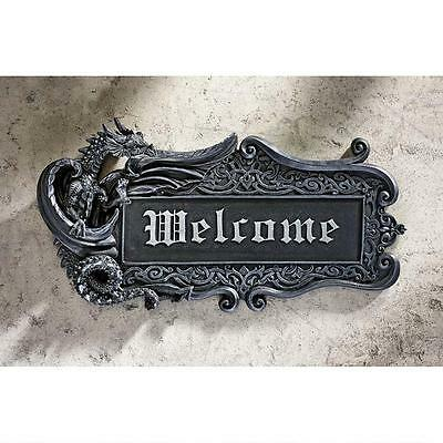 Medieval Dragon Welcome Gothic Wall Plaque Sign