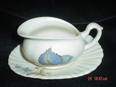 Very Pretty Axe Vale Sauce Boat Blue Leaves 1950's