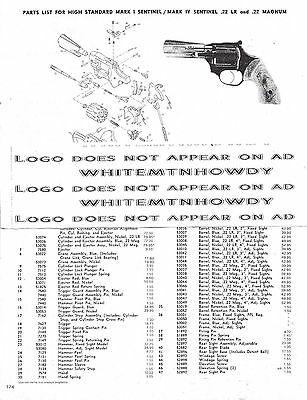 1990 High Standard Mark I IV Sentinal Revolver Schematic Exploded Parts List Ad