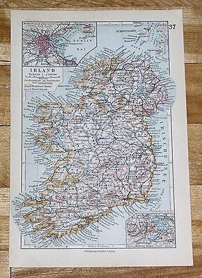 1928 Original Vintage Map Of Ireland / Dublin Inset Map