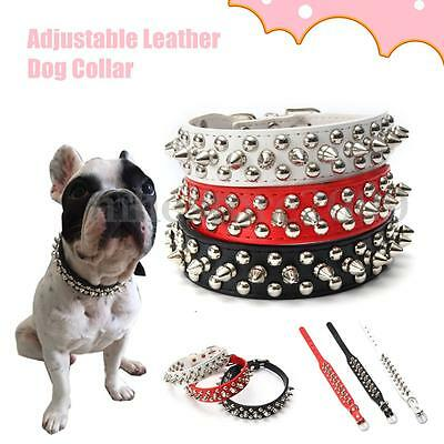 Adjustable Pet PU Leather Studded Spiked Buckle Cat Puppy Dog Collar Rivet Strap