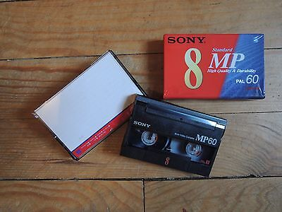 2X Lot CASSETTE TAPE VINTAGE SONY Video 8 mm MP60 Pal