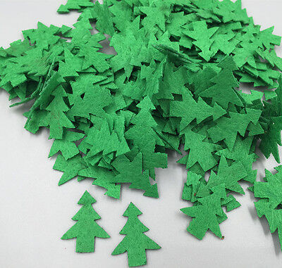DIY 100 pcs Padded Felt Green Christmas Tree Appliques Decorative Sewing Craft
