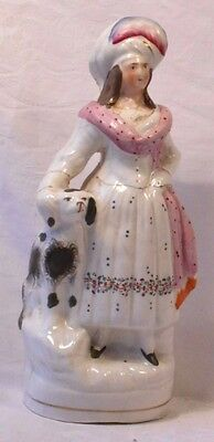 LATE C19TH STAFFORDSHIRE FLATBACK FIGURE OF A SCOTTISH LADY AND HER DOG a/f
