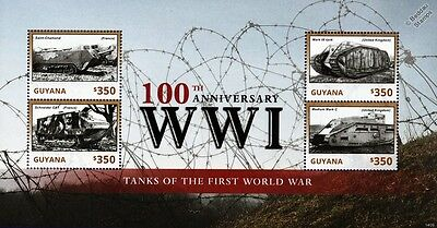 WWI 1914-1918 French & GB Tanks of the First World War Stamp Sheet (2014 Guyana)