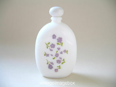 Vintage Avon Lavender perfume cologne bottle, white glass, pretty floral pattern