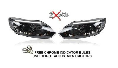 Ford Focus 2011-2014  Black Led Lightbar Drl Daylight Running Lights Headlights
