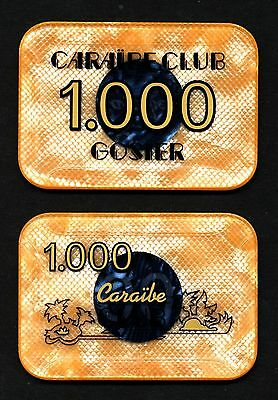 Caraibe Club Casino Gosier 1000 Frs Plaque Gosier Guadeloupe franz. Karibikinsel