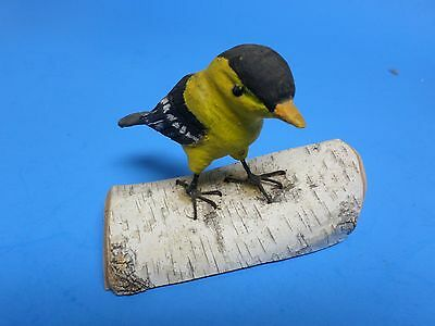 "Yellow Finch Sitting On A White Birch Tree Log.,lof Is 4-1/2 "" Long,bird 4 """