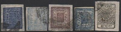 Nepal Classic Issues Selection Including 1 Anna Postally Used Stamp