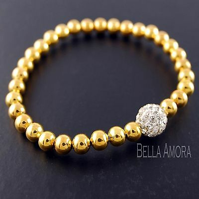 Yellow Gold Stretch Bead Ball Bracelet Bangle with Clear CZ Crystals New UK 176