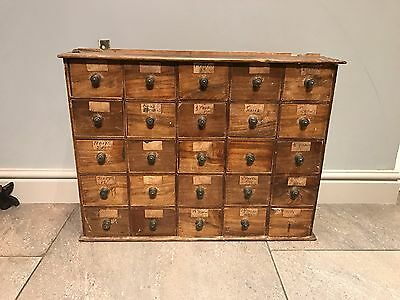 Vintage 25 Drawer Wooden Apothecary Cabinet / Spice Chest
