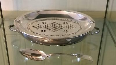 Fine Antique Silver Plated Entree Dish with Ornate Pierced Liner & Serving Spoon