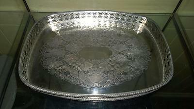 Lovely Silver Plated on Copper Rectangular Reticulated Galleried Drinks Tray