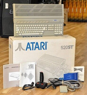 Boxed Atari 520ST f 520 STF + Mouse, Joystick, Games, Manuals & Video Cable
