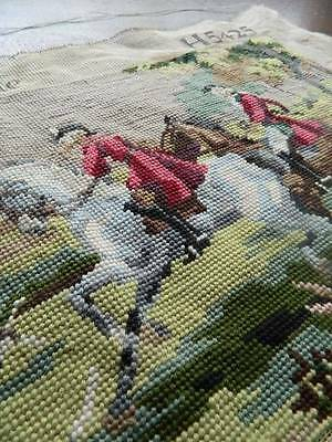 Vintage hand worked wool work tapestry picture panel - Hunting Scene.