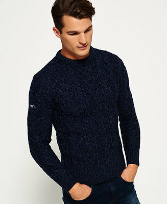 New Mens Superdry Jacob Heritage Crew Neck Jumper Navy Twist