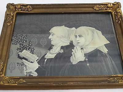 Antique Neyret Freres French Silk Woven Two Nuns Praying - Framed