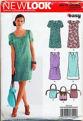New Look Sewing Pattern 6022 Misses Sz 6-16 Easy A-Line Dress & Drawstring Bag