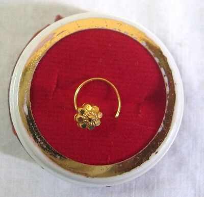 22k Solid Real Gold Nose Pin Floral Wear Home G14 Beauty Romantic Casual #ADS0H
