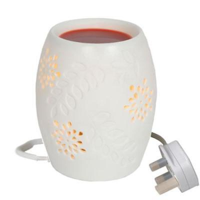 White Floral Electric Tart / Wax Burner FREE P&P Perfect For Yankee Candles