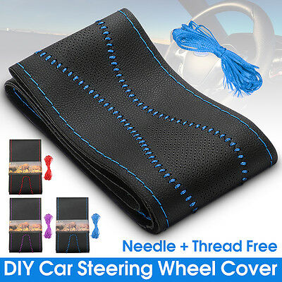 DIY Genuine Leather Car Truck Steering Wheel Cover Skin With Needle Thread Black