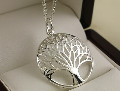 "925 Stamped Silver Plated Tree of Life Pendant with 18"" Necklace Chain - New -64"